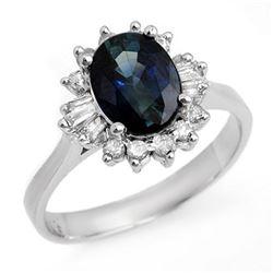 2.29 CTW Blue Sapphire & Diamond Ring 18K White Gold - REF-65W3F - 13238