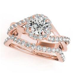 1 CTW Certified VS/SI Diamond 2Pc Wedding Set Solitaire Halo 14K Rose Gold - REF-117K5W - 31059
