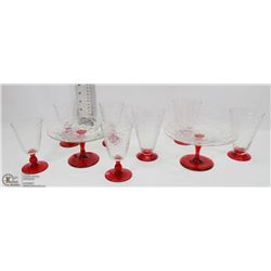 LOT OF 7 CRANBERRY GLASSES WITH 2 BISCUIT TRAYS