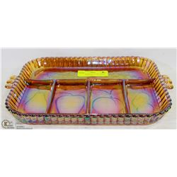 LARGE CARNIVAL GLASS CHEESE AND FRUIT PLATE