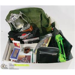 FLAT OF MENS ITEMS  AND ARMY BAG