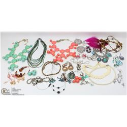 BAG OF ASSORTED FASHION AND COSTUME JEWELRY