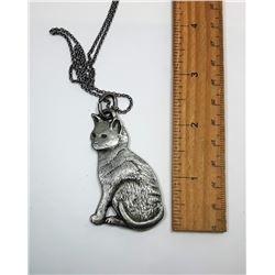 14)  PEWTER CAT PENDANT ON CHAIN