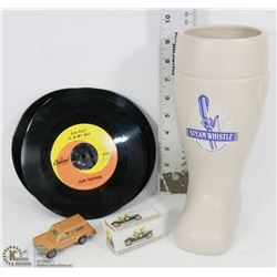 STEAMWHISTLE BEER MUG 45RPM RECORDS & ASSORTED