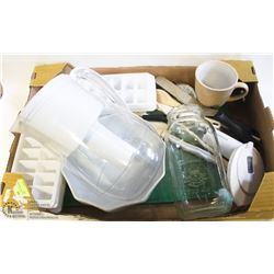FLAT OF ASSORTED KITCHEN UNTENSILS, ICE TRAYS,