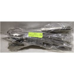 """8 NEW 12"""" STAINLESS EXTRA HEAVY DUTY TONGS"""