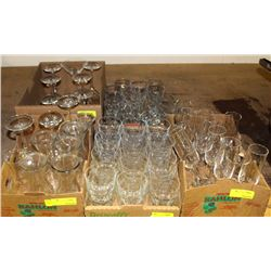 5  FLATS OF ASSORTED GLASSWARE & LIQUOR GLASSES