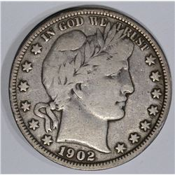 1902-O BARBER HALF DOLLAR, VF+