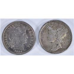 (2) DIMES - 1919-D XF-AU & 1904 AU/UNC