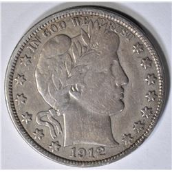 1912-S BARBER HALF DOLLAR ABOUT XF