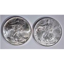 1993 & 2000 AMERICAN SILVER EAGLE DOLLARS