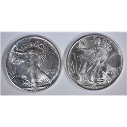 1990 & 1993 AMERICAN SILVER EAGLE DOLLARS