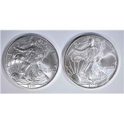 2001 & 2003 AMERICAN SILVER EAGLE DOLLARS
