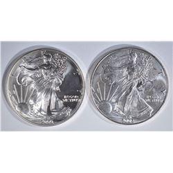 2000 & 2002 AMERICAN SILVER EAGLE DOLLARS