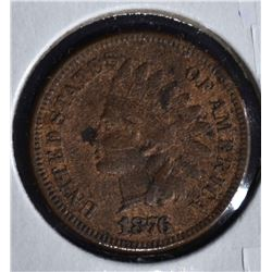 1876 INDIAN HEAD CENT  AU  MARKS