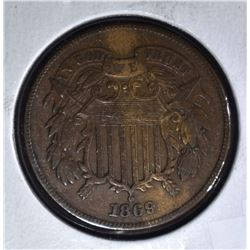 1869 TWO CENT PIECE  XF