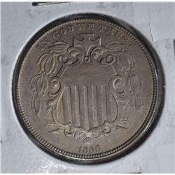 1866 SHIELD NICKEL  CH BU