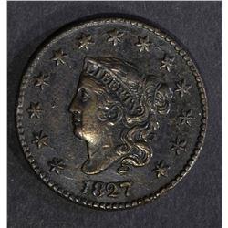 1827 LARGE CENT, XF/AU few marks