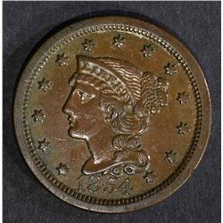 1854 LARGE CENT, CH XF/AU
