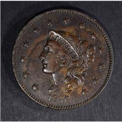 1836 LARGE CENT, XF/AU