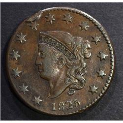 1825 LARGE CENT, XF/AU rim hit & a little bent
