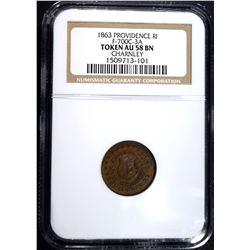 1863 PROVIDENCE R.I. CIVIL WAR TOKEN, NGC AU-58 BN