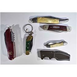 6 - POCKET KNIFES; 1-SWISS ARMY UTILITY
