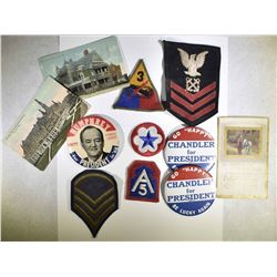 POLITICAL PINS, MILITARY PATCHES,