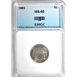 1882 SHIELD NICKEL, EMGC GEM BU