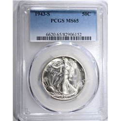 1943-S WALKING LIBERTY HALF PCGS MS-65