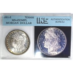 1881-S MORGAN DOLLAR, INS GEM BU DMPL