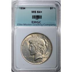 1934 PEACE DOLLAR, EMGC CH+/GEM BU