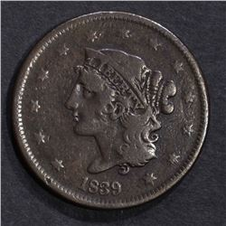 1839 LARGE CENT N-6 LARGE CENT, VF