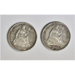 1862 & 1872-S SEATED HALF DIMES, XF