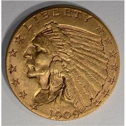 1909 $2 1/2 GOLD INDIAN HEAD  CH BU