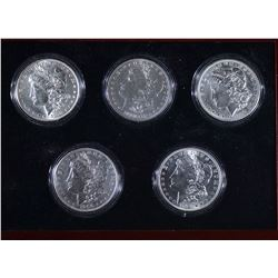 FIVE DECADE MORGAN DOLLAR SET IN CUSTOM BOX