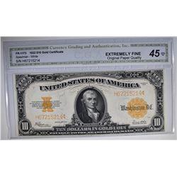 1922 $10 GOLD CERTIFICATE FR1173