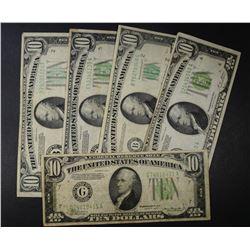 5-$10.00 GREEN SEAL NOTES, AVE CIRC