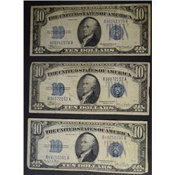 3-$10.00 BLUE SEAL NOTES, AVE CIRC