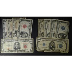 10-$5 RED & BLUE SEAL U.S. NOTES -CIRC