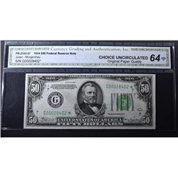 1934 $50 FEDERAL RESERVE NOTE CGA CH UNC-OPQ