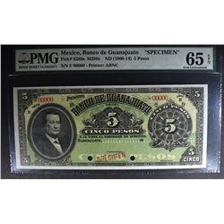 1900-1914 5 PESOS MEXICO SPECIMEN #00000
