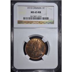 1915 CANADA ONE CENT NGC MS 65 RB