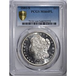 1881-S MORGAN DOLLAR PCGS MS64PL