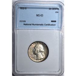 1932-S WASHINGTON QUARTER NNC CH BU