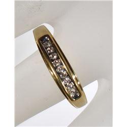 10kt GOLD LARGE DIAMOND BAND  SIZE 14