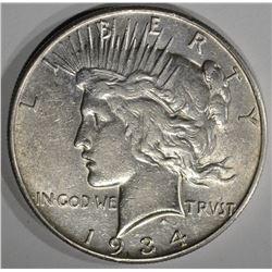 1934-S PEACE DOLLAR  AU+