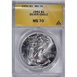 1992 $1 AMERICAN SILVER EAGLE ANACS MS 70