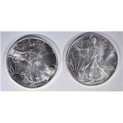 2 - 1993 AMERICAN SILVER EAGLE DOLLARS
