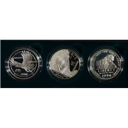 1994 U.S. VETERANS 3-PIECE PF COMMEM DOLLAR SET